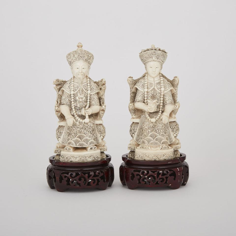 Carved Ivory Figures of a King and Queen, Circa 1940