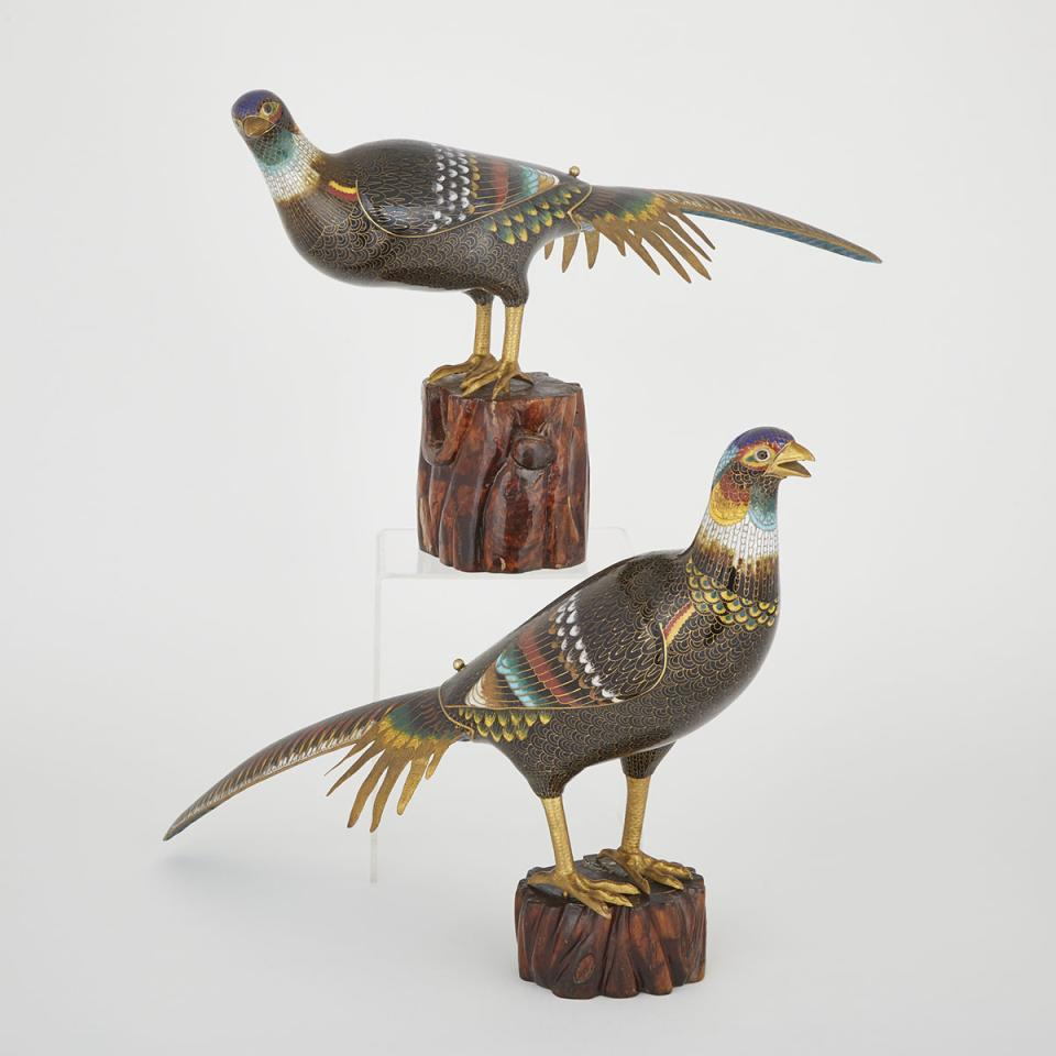 A Pair of Cloisonné Birds, Early 20th Century