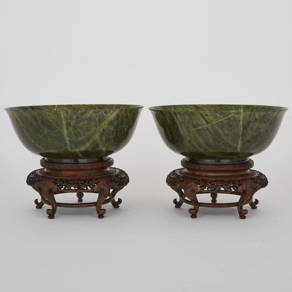 A Pair of Green Hardstone Bowls