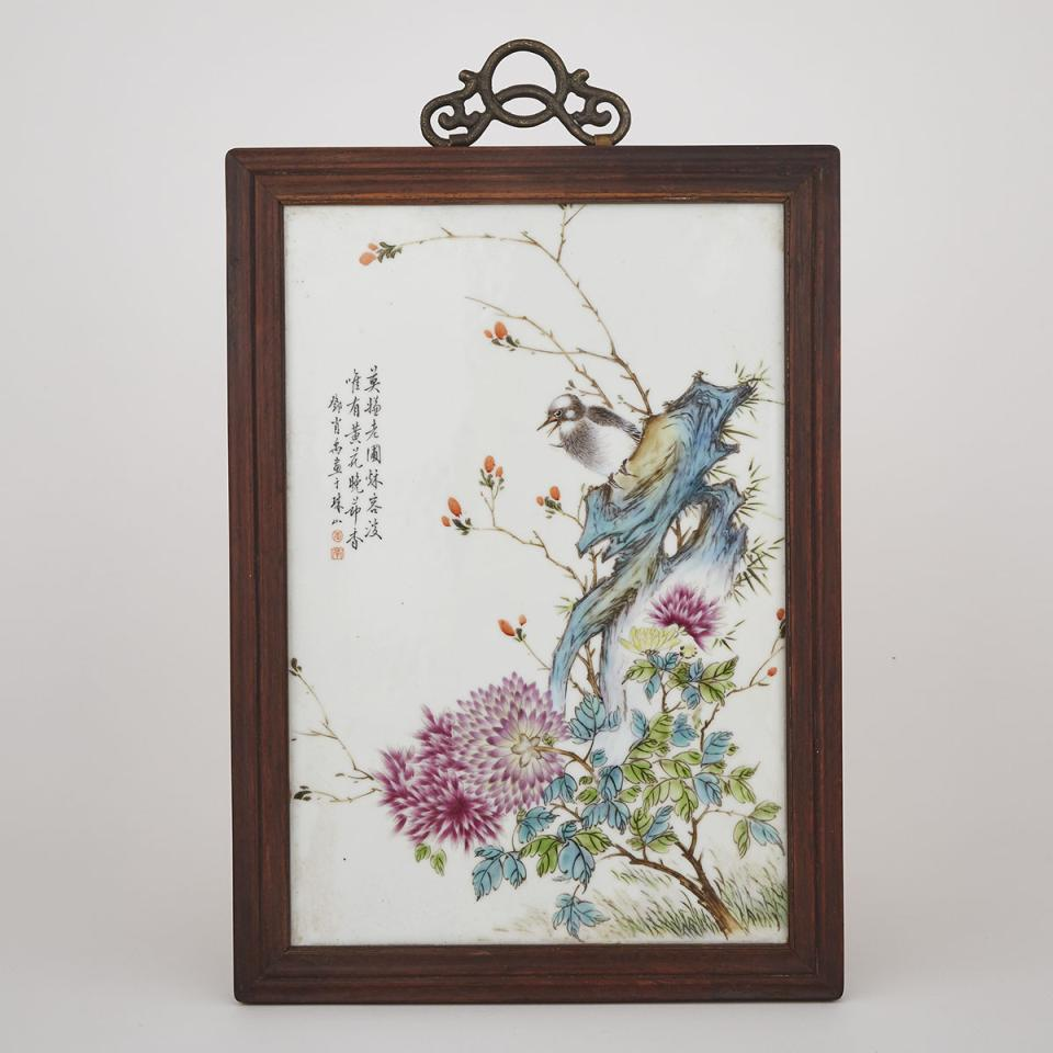A Porcelain Panel of Birds and Flowers