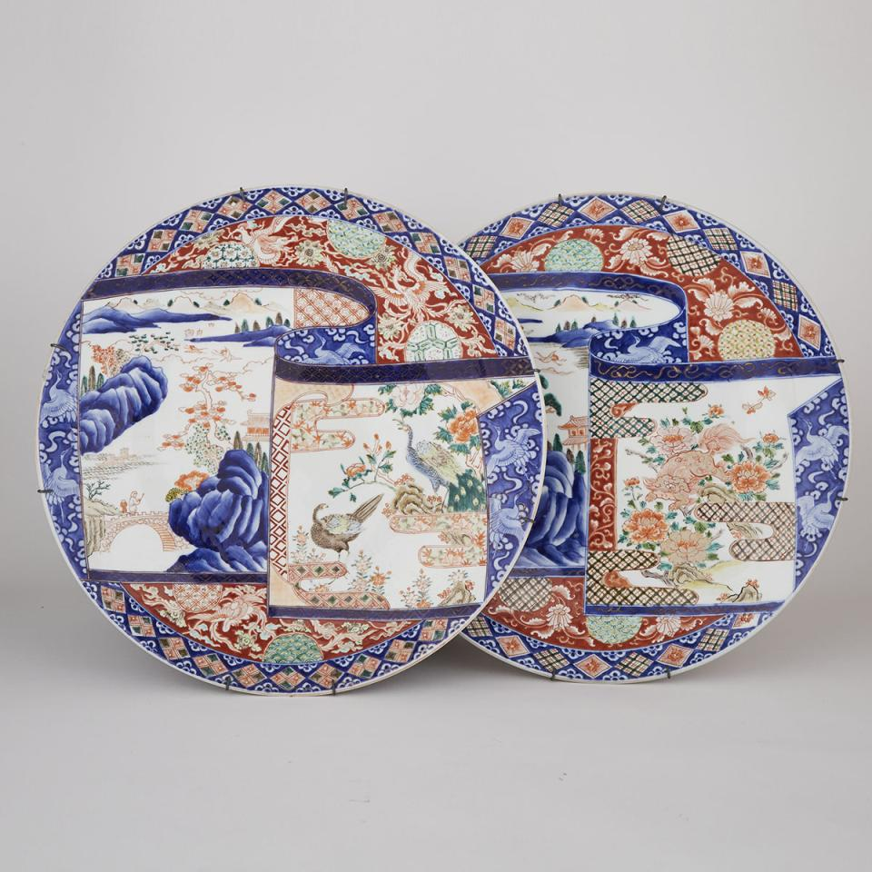 A Pair of Massive Imari Chargers, 19th Century