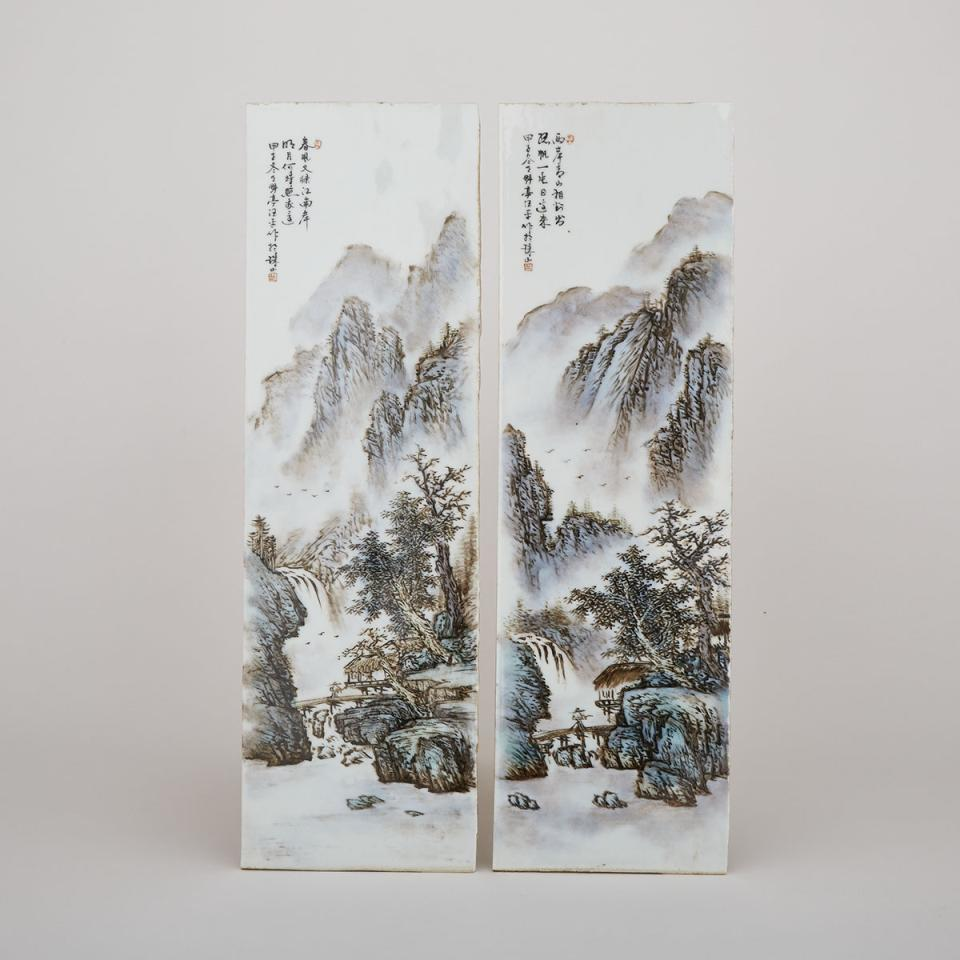 Attributed to Wang Yeting 汪野亭 (1884-1942), Two Porcelain Landscape Panels