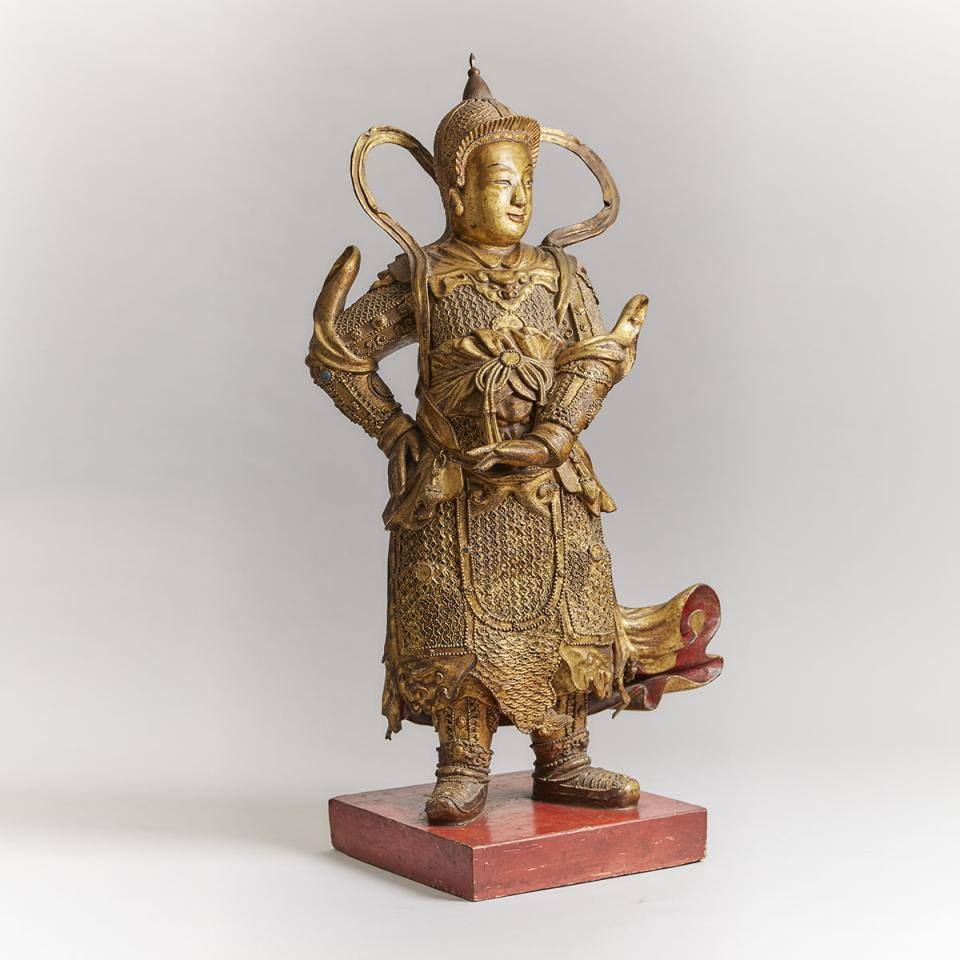 A Massive Carved Gilt-Lacquered Wood Figure of Wei Tuo, 18th/19th Century
