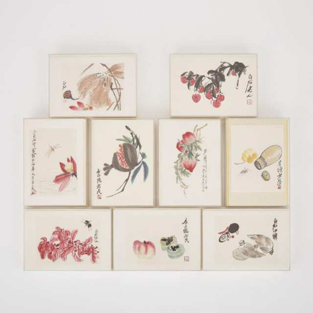 A Group of Nine Small Chinese Woodblock Prints