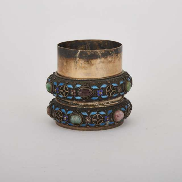 A Pair of Canton Enamel Bracelets Mounted onto a Silver Container, 19th Century