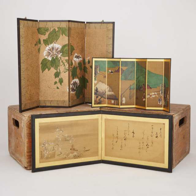 A Group of Three Japanese Screens
