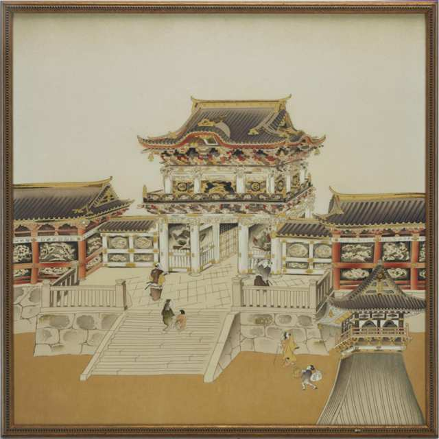 A Framed Textile Painting of a Japanese Temple