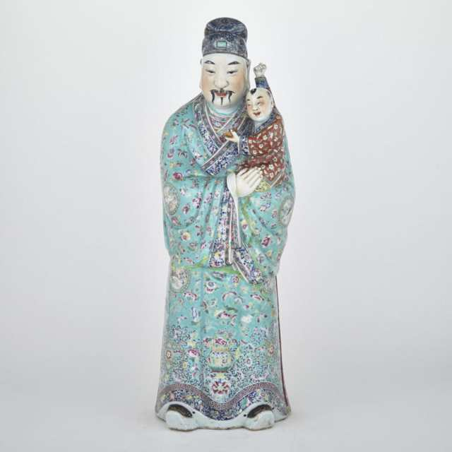 A Large Famille Rose Figure of a Stargod, Fu, Early 20th Century