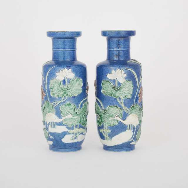 A Pair of Blue Moulded Vases, Wang Bingrong 王炳荣 Mark