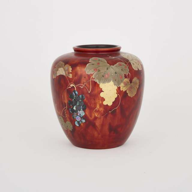 A Wood Red Lacquered Vase