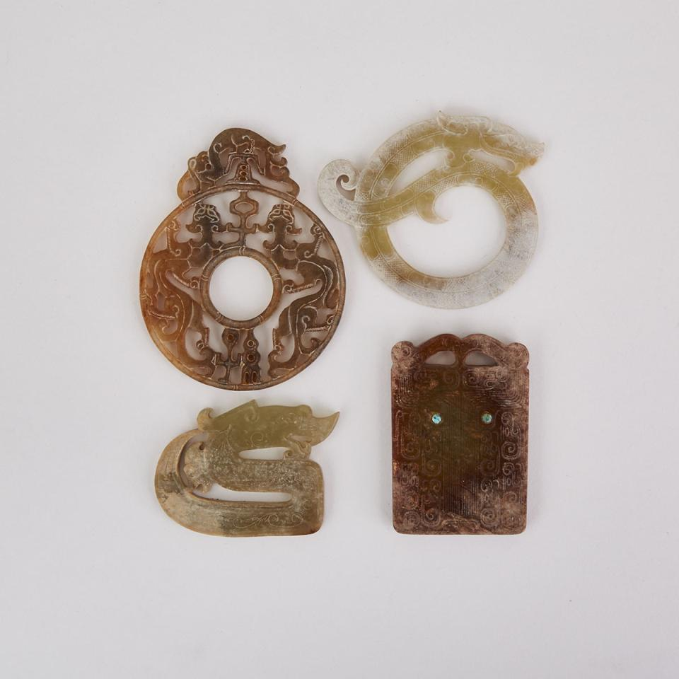 Four Neolithic/Han-Style Jade Pendants