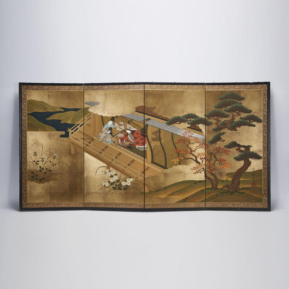 A Japanese Folding Screen of an Imperial Garden Scene