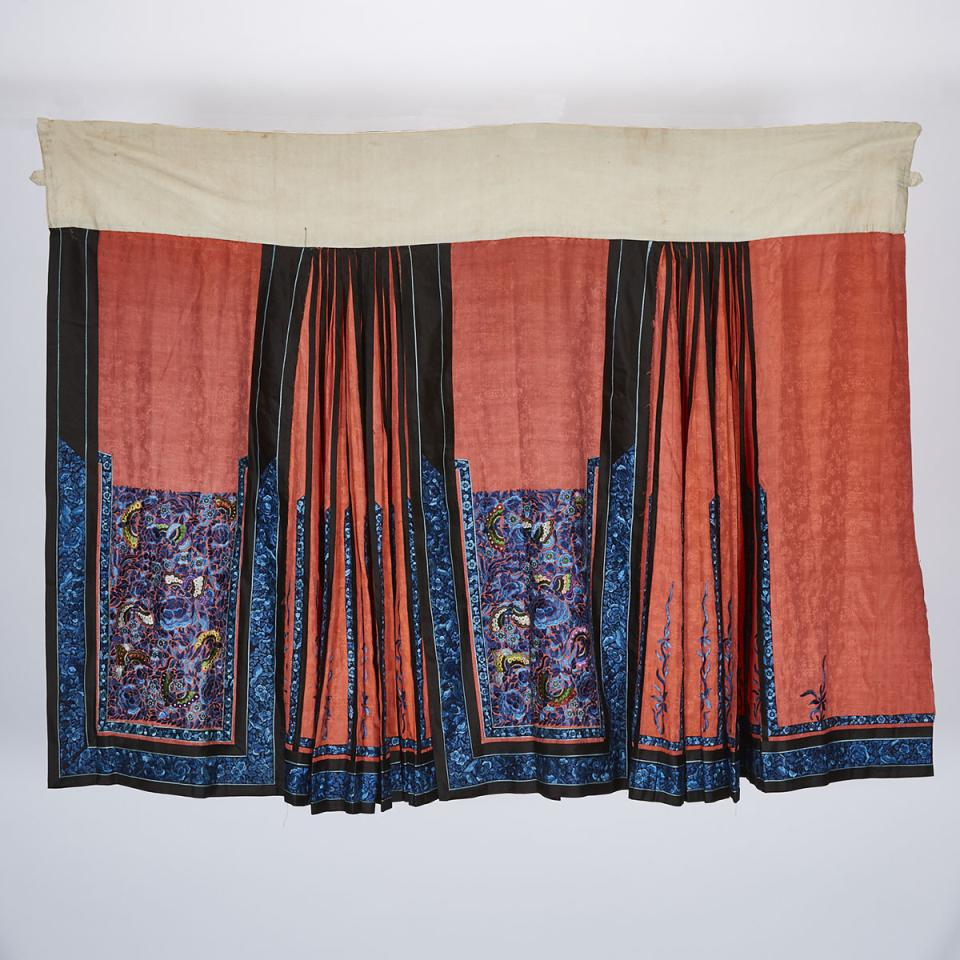 A Red Ground Silk Pleated Skirt, 19th Century