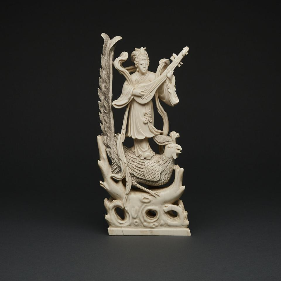 An Ivory Carving of a Lady and Phoenix, Circa 1940s