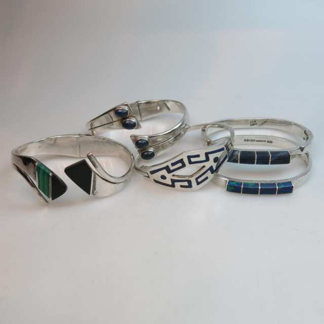 Five Mexican Sterling Silver Bangles