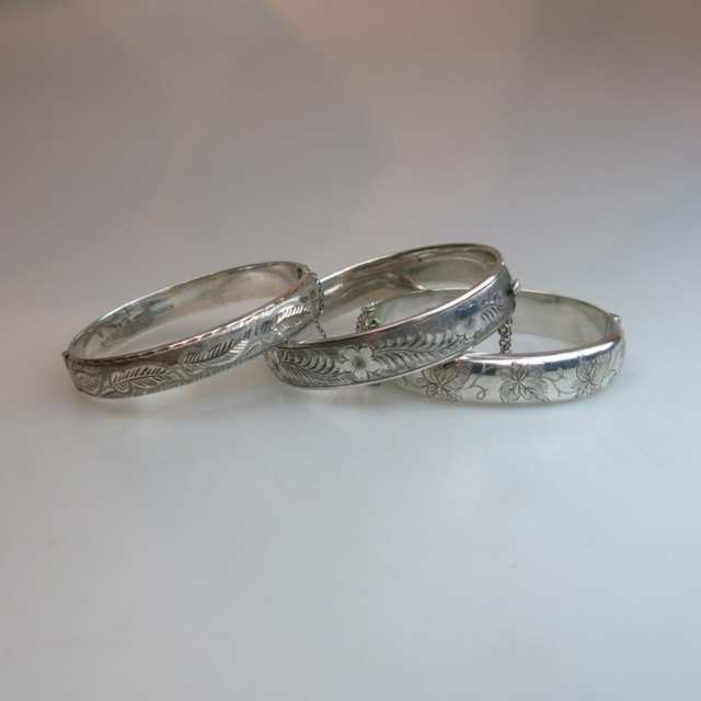 Three English Silver Hinged Bangles