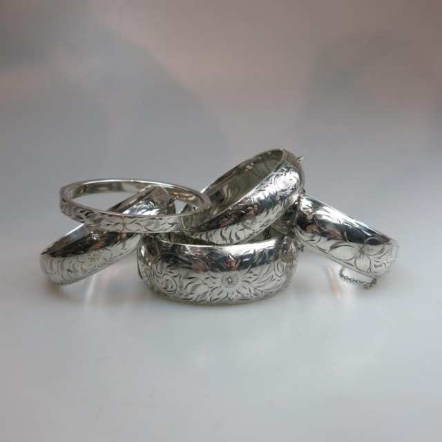 Five Birks Sterling Silver Hinged Bangles