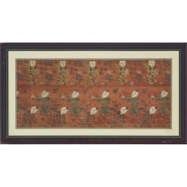 A Framed 'Boys' Textile, Early 20th Century