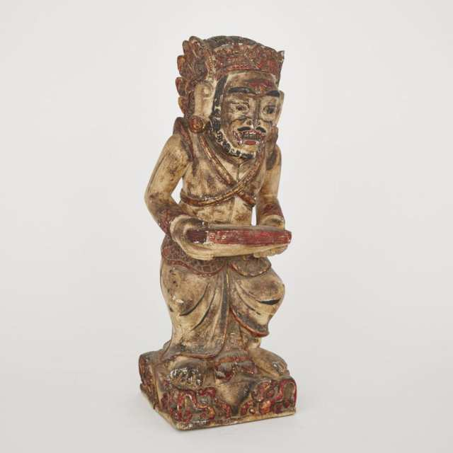 An Southeast Asian Wood Sculpture of an Attendant