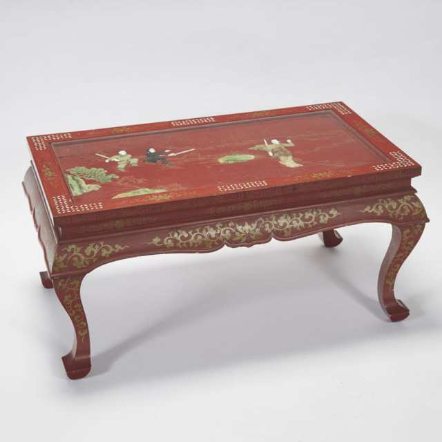 A Stone and Ivory Inlaid Red Lacquer Table, Mid 20th Century
