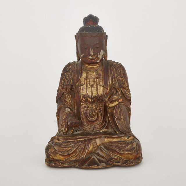 A Gilt and Lacquer Wood Carved Buddha, 18th/19th Century