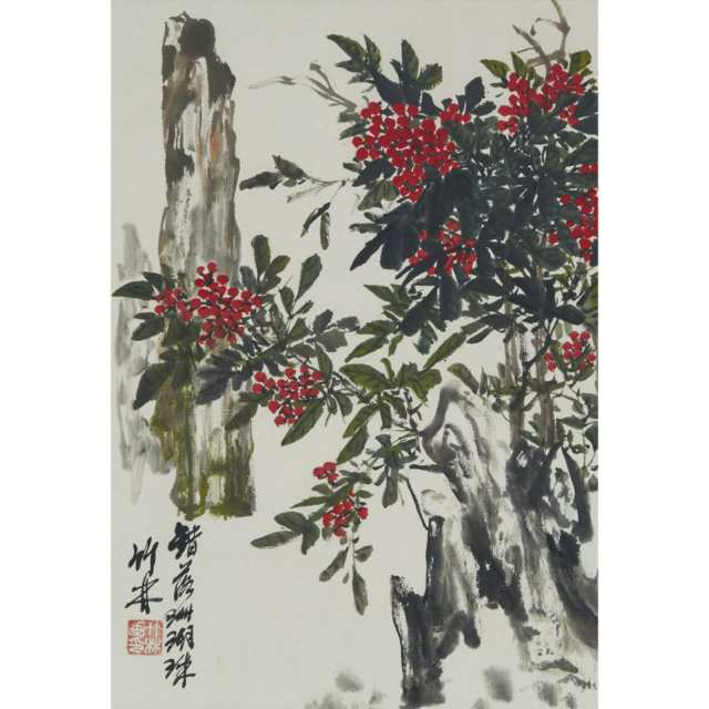 A Group of Four Chinese Floral Paintings