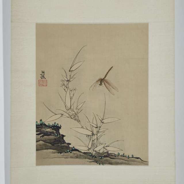 Chen Hongsui 陳洪綏, White Bamboo and Dragonfly
