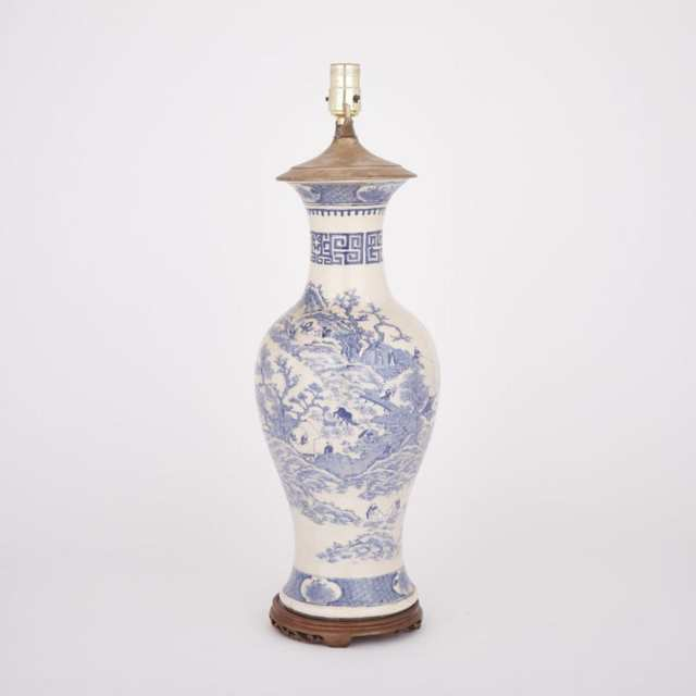 A Blue and White Vase Lamp, Late 19th Century