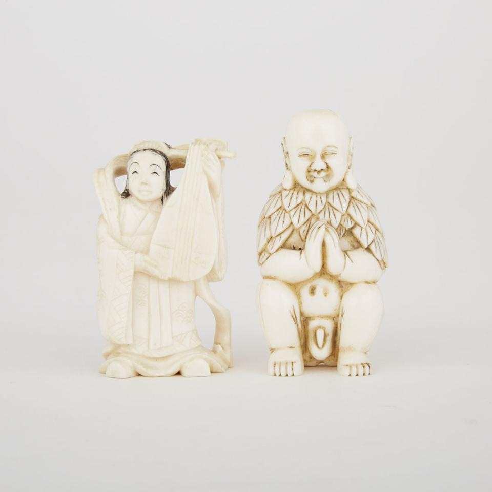 Two Small Carved Ivory Figures, Circa 1940