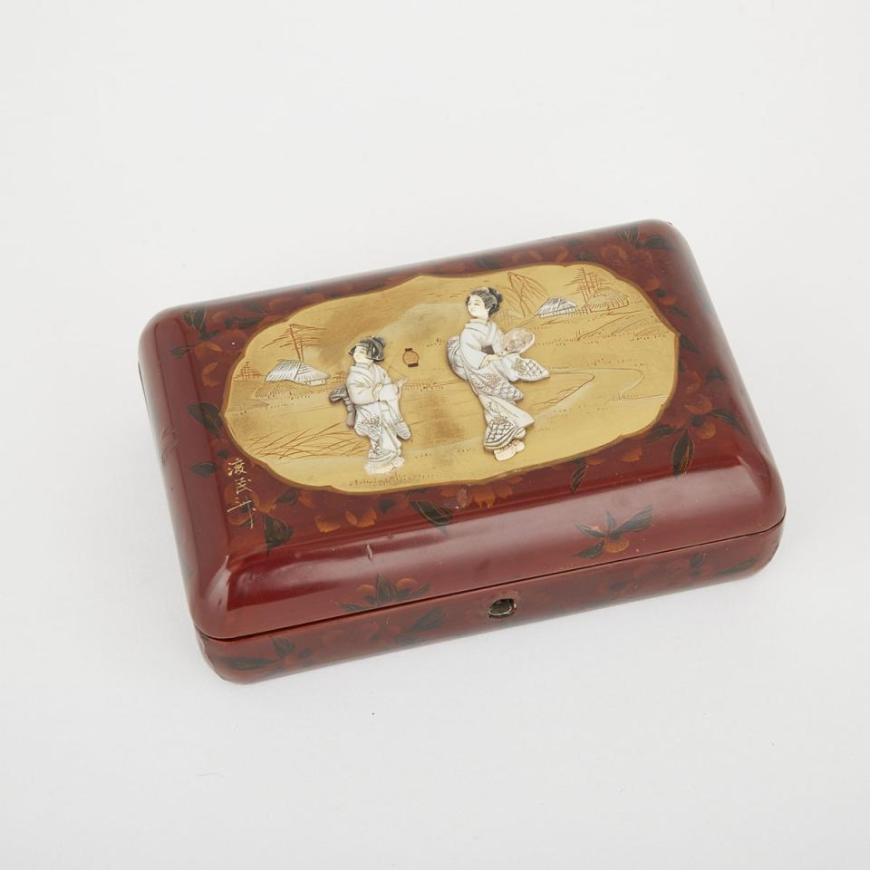 A Japanese Mother of Pearl and Ivory Inlaid Lacquer Box, Early 20th Century