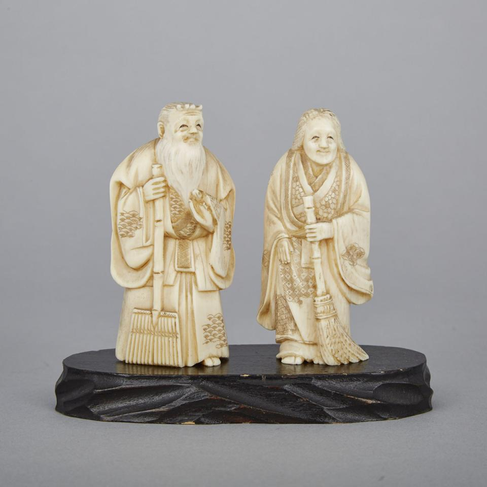 Two Small Ivory Okimono of an Elderly Couple, Early 20th Century