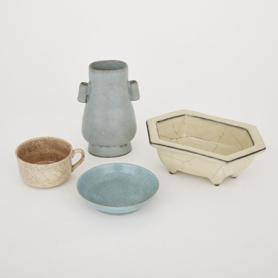A Group of Four Crackled Glaze Wares