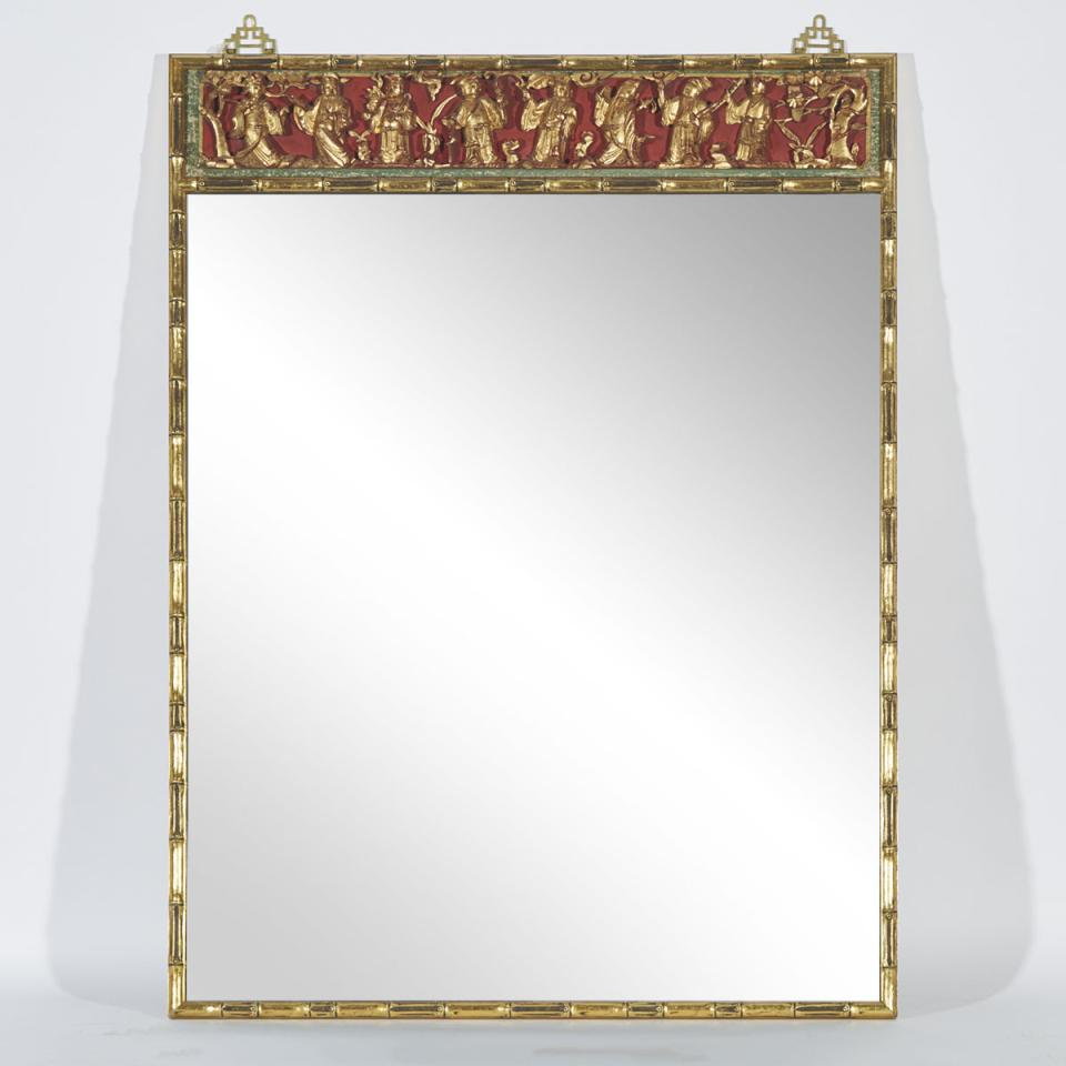 A Mirror with a Gilt Wood 'Eight Immortals' Carved Panel, 19th Century (Carving), Mirror Later