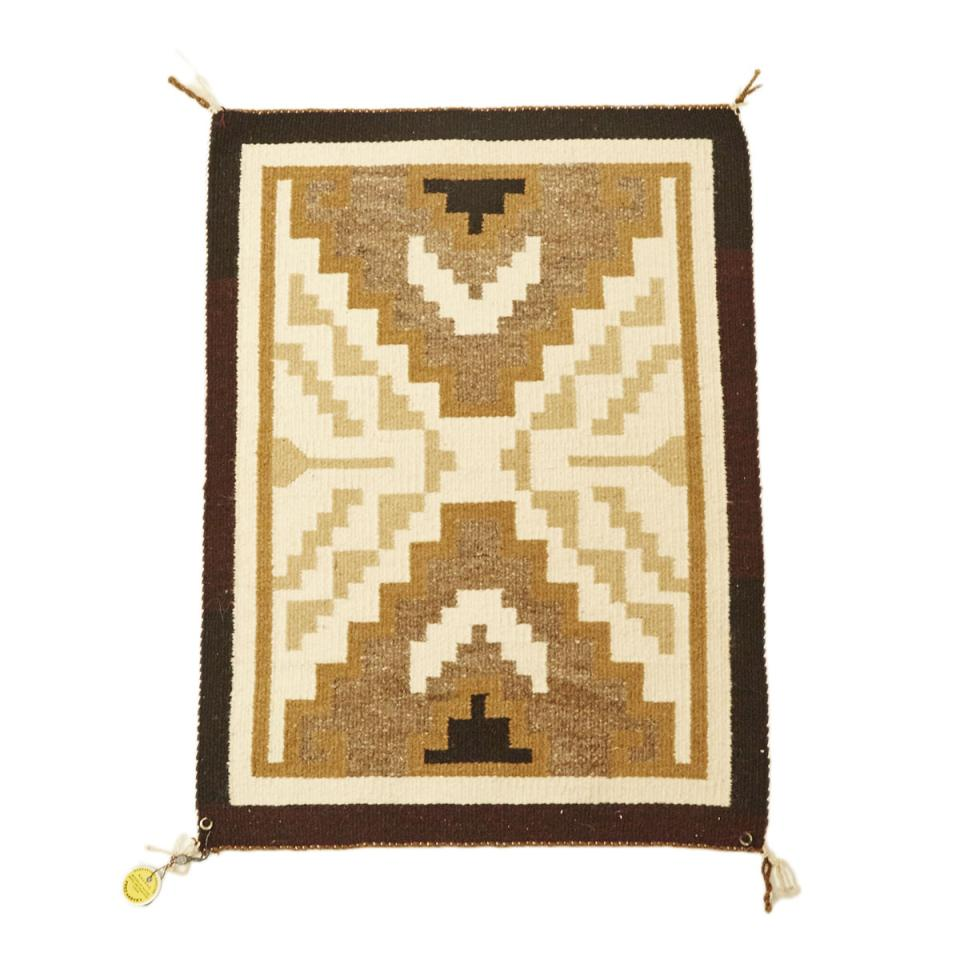 Two Grey Hills Navajo Mat by Elaine Barber, 20th century, with Fred Harvey tag