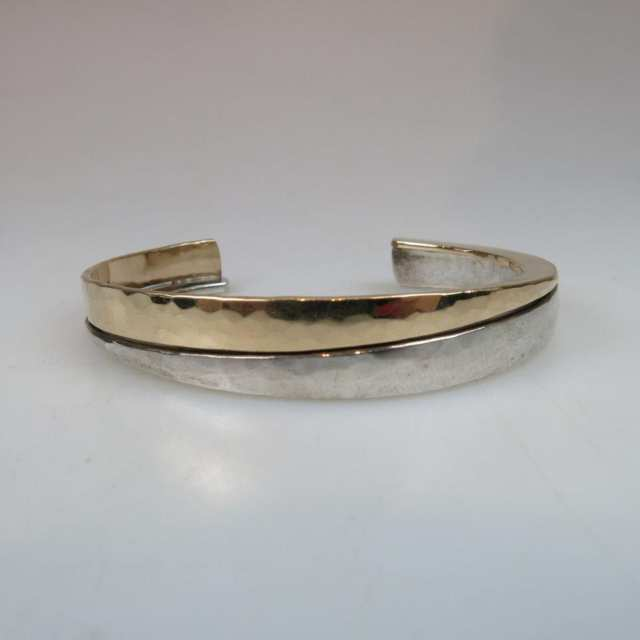 Peter James Sterling Silver And Gold-Filled Open Cuff Bangle