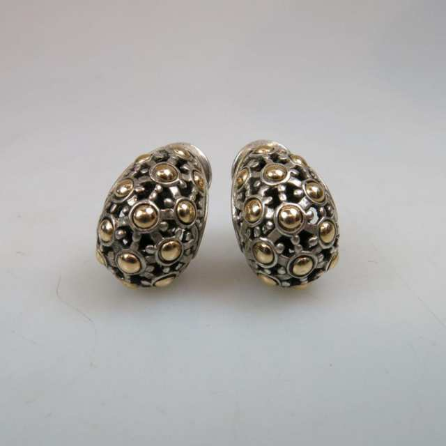 Pair Of John Hardy American Sterling Silver And 18K Yellow Gold Earrings