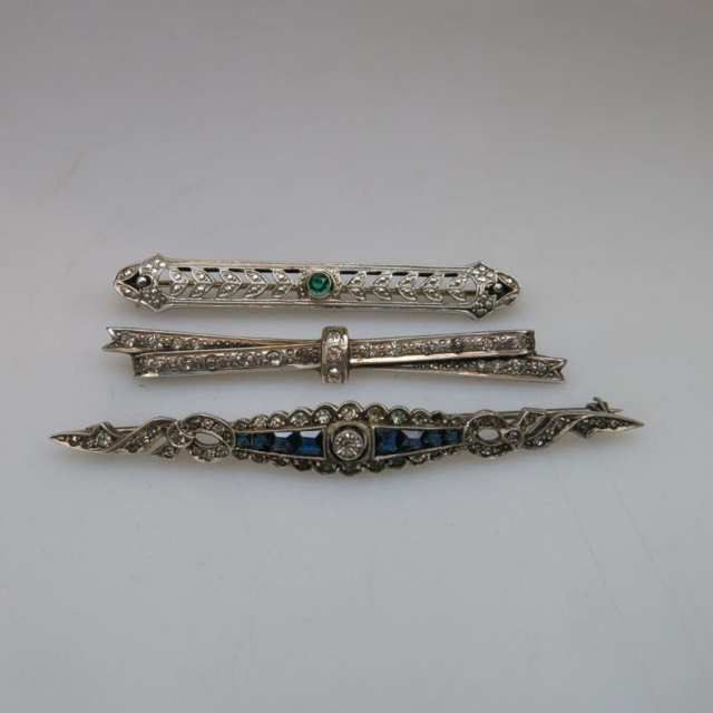 6 Sterling Silver Bar Pins