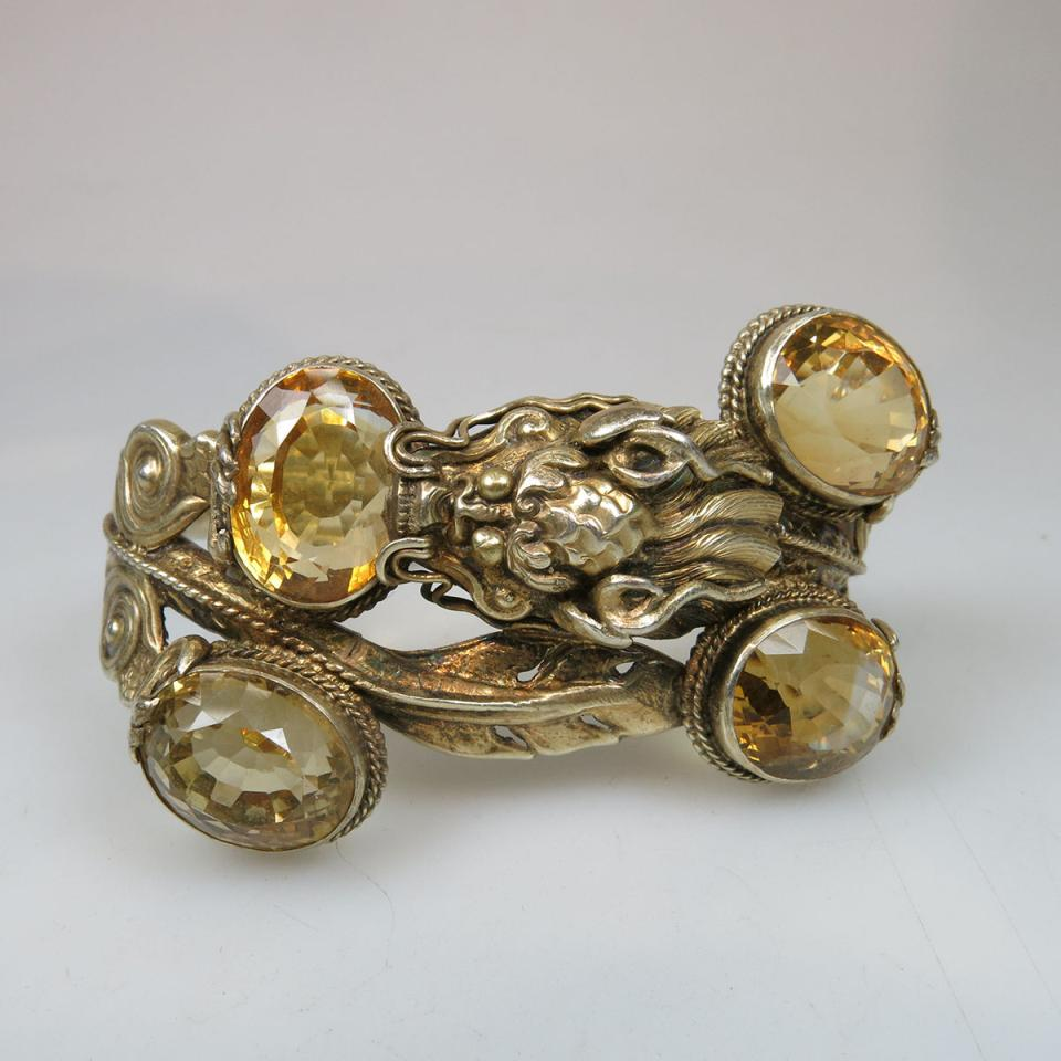 Sterling Silver Gilt Hinged Bangle