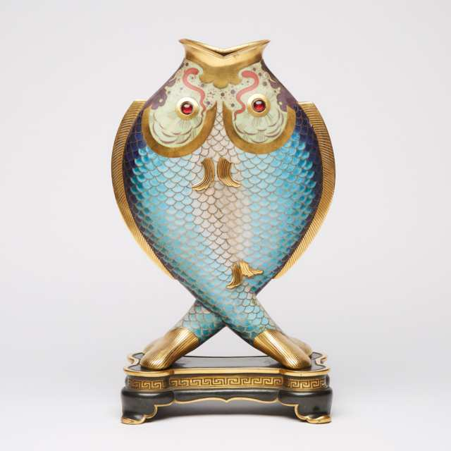 French 'Japonisme' Cloisonné Enamel, Gilt & Patinated Bronze Double Fish Form Vase