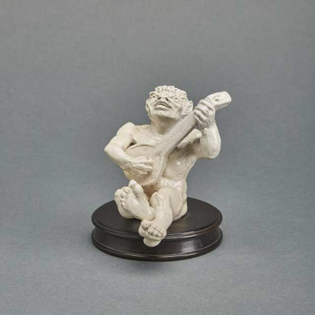 Martin Brothers Stoneware Imp Musician Playing a Lute, 1910