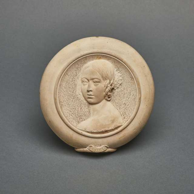 Martin Brothers Unglazed Portrait Plaque of a Young Queen Victoria, 1898