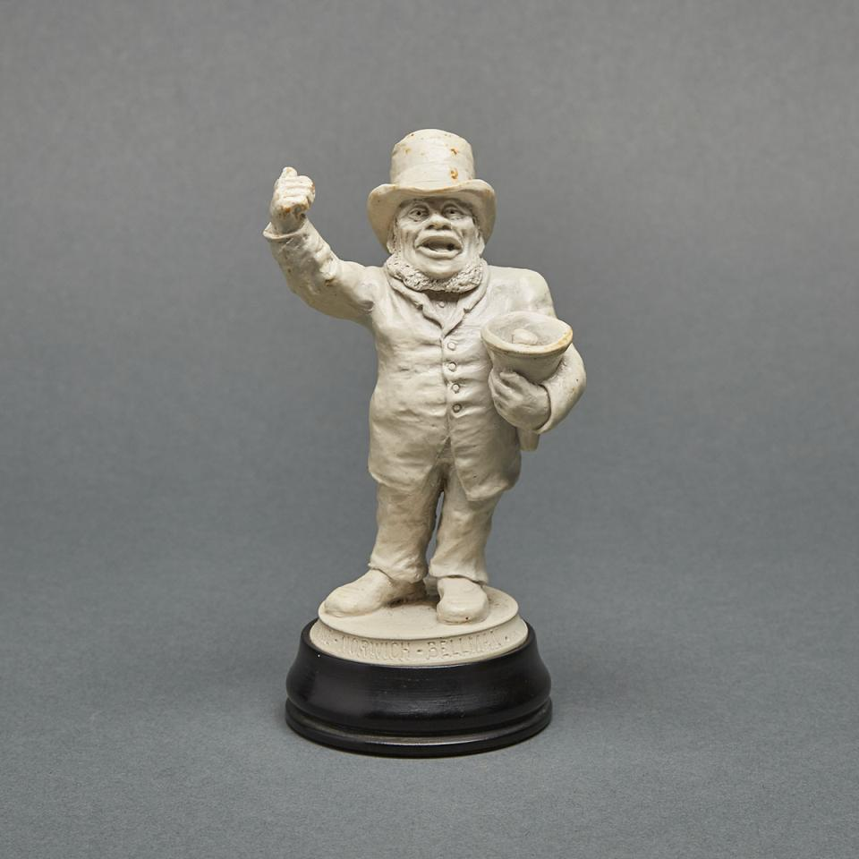 Martin Brothers Stoneware Portrait Figure of Will Childerhouse, 'The Norwich Bellman', 1900