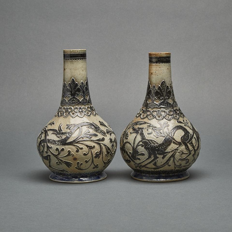 Pair of Martin Brothers Stoneware Vases, 1875