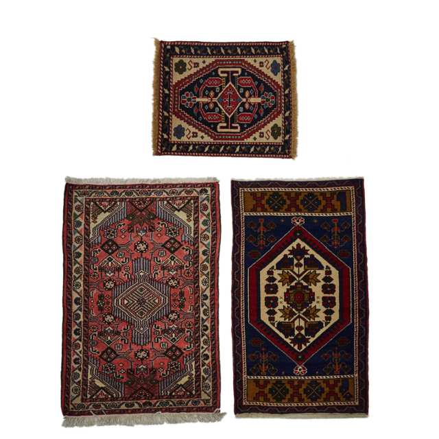 Three Small Turkish Mats, mid to late 20th century
