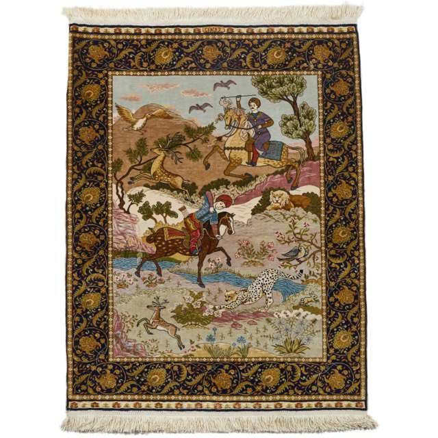 Hereke Sultani Silk Pictorial Rug, Turkish, signed Cinar, mid 20th century