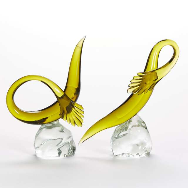 Pair of Murano Green Glass Eels, probably Luciano Gaspari for Salviati, mid-20th century