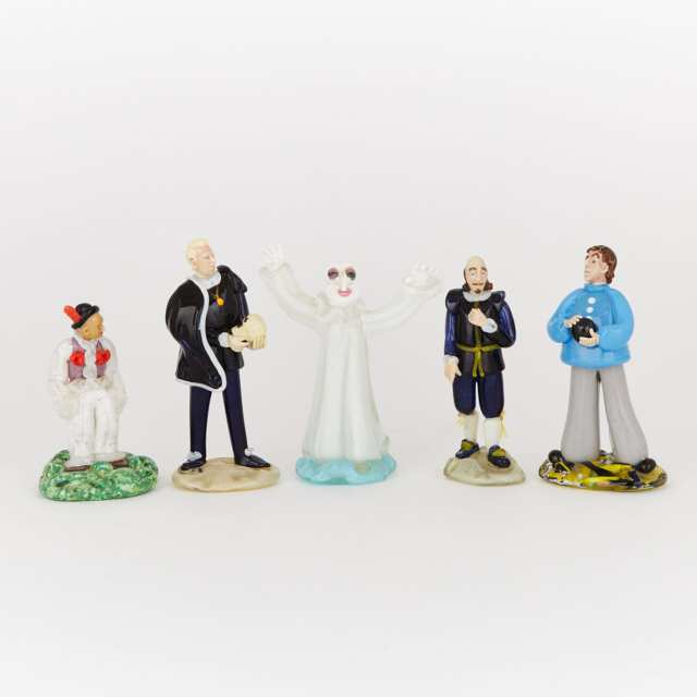 Five Czechoslovakian Coloured Glass Character Figures, 20th century