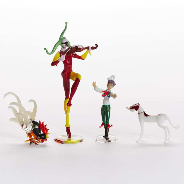 Bimini Werkstätte Coloured Glass Musician Figure, a Boy, Dog and Rooster, 1930s