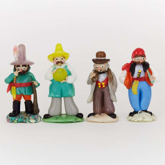 Four Czechoslovakian Coloured Glass Character Figures, 20th century