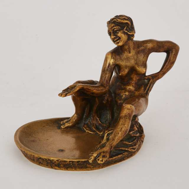 Gilt Bronze Figural Ashtray by Emmanuel Andrew Cavacos (Greek/American, 1885-1972) c.1930